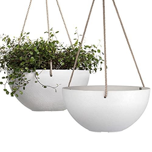 Maceta colgante blanca de 25,4 cm para interior y exterior, macetas para plantas con agujero de drenaje, macetero para plantas colgantes, paquete de 2