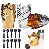 YWQ 100 Pirottini per Muffin,Pirottini di Carta per Muffin,Carta da Forno a Tulipano, Pirottini di Carta da Forno a Tulipano per Feste, Matrimoni, Feste di Compleanno (Foglio di Alluminio)