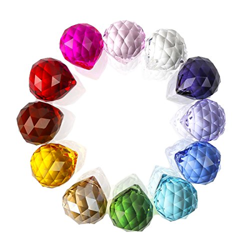 H&D 12 Stück Mehrfarbig Feng Shui facettiertes Kristallkugelprisma Hängender Glassonnenfänger für Fenster,30mm