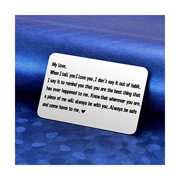 MIXJOY Engraved Wallet Card Inserts, for Men, Husband Gifts, Boyfriend Gifts Wallet Love Note Insert, Love Message