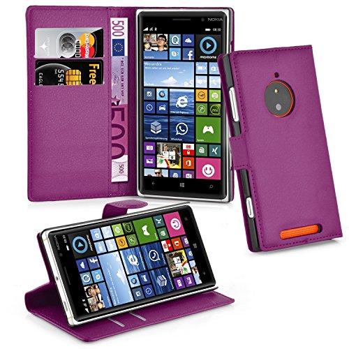 Cadorabo Hülle für Nokia Lumia 830 - Hülle in Mangan VIOLETT – Handyhülle mit Kartenfach und Standfunktion - Case Cover Schutzhülle Etui Tasche Book Klapp Style
