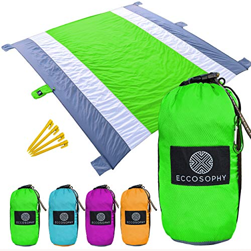 Large Size 82X80 for 4-7 Adults Outdoor Sandproof Picnic Blanket Light Weight Nylon Beach Mat with 4 Stakes and 4 Corner Pockets for Travel Camping or Hiking HIHOHO Beach Blanket