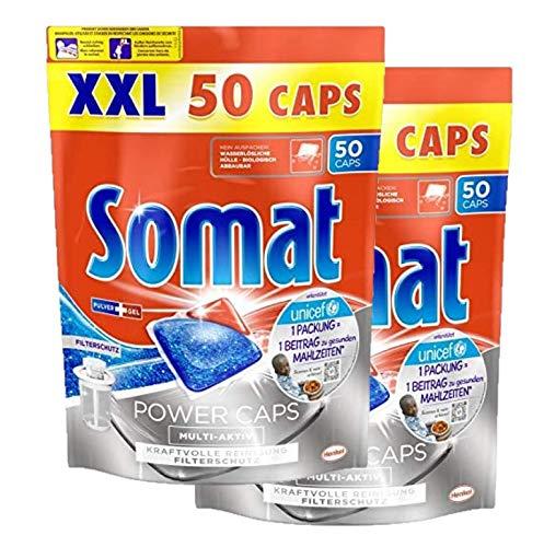Pastillas para lavavajillas Somat Power Caps, multiactivas, potente limpieza, pack de 2 (2 x 50 unidades)