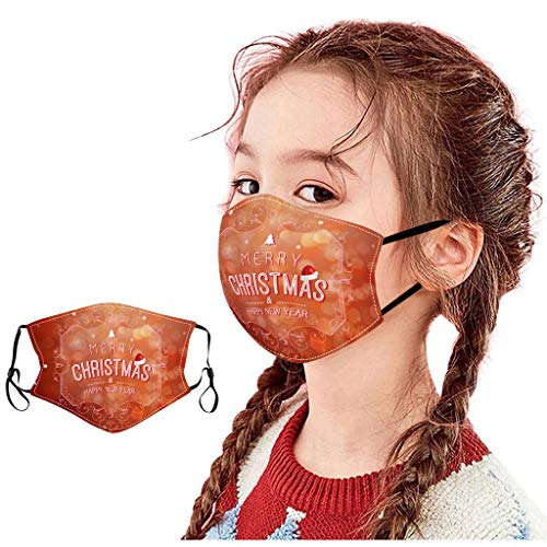 NN/A Weihnachten Mundschutz Kinder Bunt mit Weihnachtsbaum Schneeflocke Motiv Mundschutz Waschbar Unisex Wiederverwendbar Atmungsaktiv Nikolaus Mund und Nasenschutz