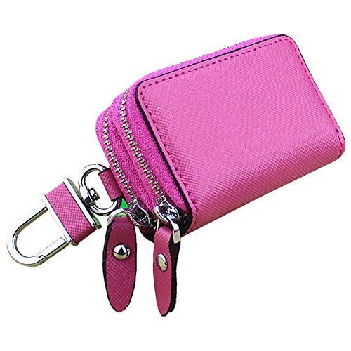 Läder kreditkortsfodral multifunktion bärbar visitkortsfodral plånbok kreditkort hållare bilnyckelhållare med dubbel dragkedja nyckelväska, kreditkortshållare, rosa röd
