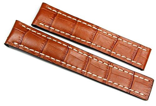 RIOS 1931 heren leren horlogeband 22 mm krokodillenreliëf bruin voor brede vouwsluiting Tan