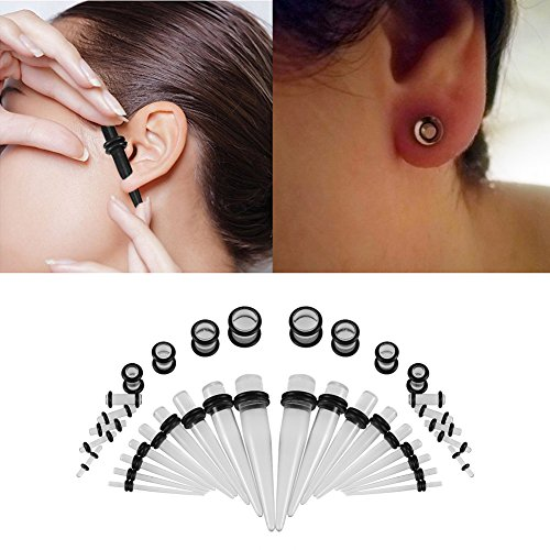 Set de 36pares de dilatadores de oreja acrílicos para mujer y hombre, piercings para la oreja