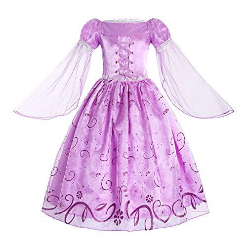 ReliBeauty Mädchen Prinzessin Rapunzel Kleid, Lila, 122-128(Etikett 130)