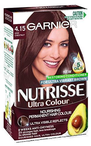Garnier Nutrisse Permanent Hair Colour, 4.15 Iced Chestnut Mohogany Ash Brown