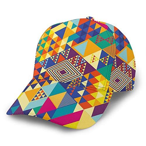Gorra de béisbol con triángulos Coloridos y Vibrantes Gorras de béisbol Modernas, Unisex, con Visera Plana,...