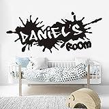 Creativo Nombre personalizado Graffiti Calle Cultura Calcomanía Niño Guardería Habitación para niños Nombre personalizado Dormitorio Decoración del hogar Vinilo Etiqueta de la pared Cartel mural