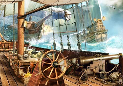 wandmotiv24 Fototapete Piraten-Schiff Galeone XL 350 x 245 cm - 7 Teile Fototapeten, Wandbild, Motivtapeten, Vlies-Tapeten Kinderzimmer, Karavelle, Karibik M1068