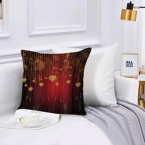 Cushion Cover Throw Pillow Heart Romantic Arrangement with Colorful Watercolor Style Love Throw Pillow Covers Set 45x45 cm for Couch Chair Bedroom