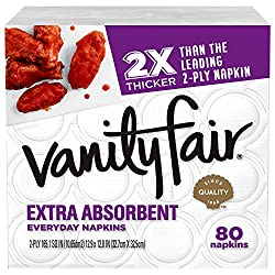 Vanity Fair Everyday Extra Absorbent Premium Paper Napkin, 80 Count, White Dinner Napkin for Messy M
