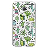 dakanna Funda para [Samsung Galaxy Core Prime] de Silicona Flexible, Dibujo Diseño [Pattern Divertido de Cactus y Frases], Color [Fondo Transparente] Carcasa Case Cover de Gel TPU para Smartphone