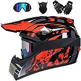 CNSTZX Casco da Motocross Adulti, Casco da Moto Cross Caschi Integrale da Corsa, Motocicletta Downhill Cross-Country, Quadrilatero con Occhiali di Protezione/Face Mask/Guanti,S