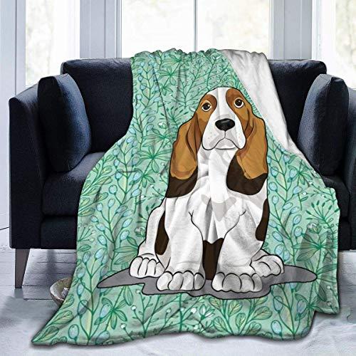 Manta de franela de Beagle, ultra suave, de microfibra, para cama, sofá, sala de estar, 152 x 127 cm