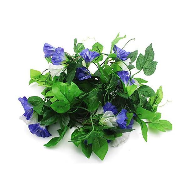 KingYH 2 Pieza 210cm Guirnaldas de Flores Artificiale Seda Gloria de la mañana con Hojas Verdes Fake Simulación…