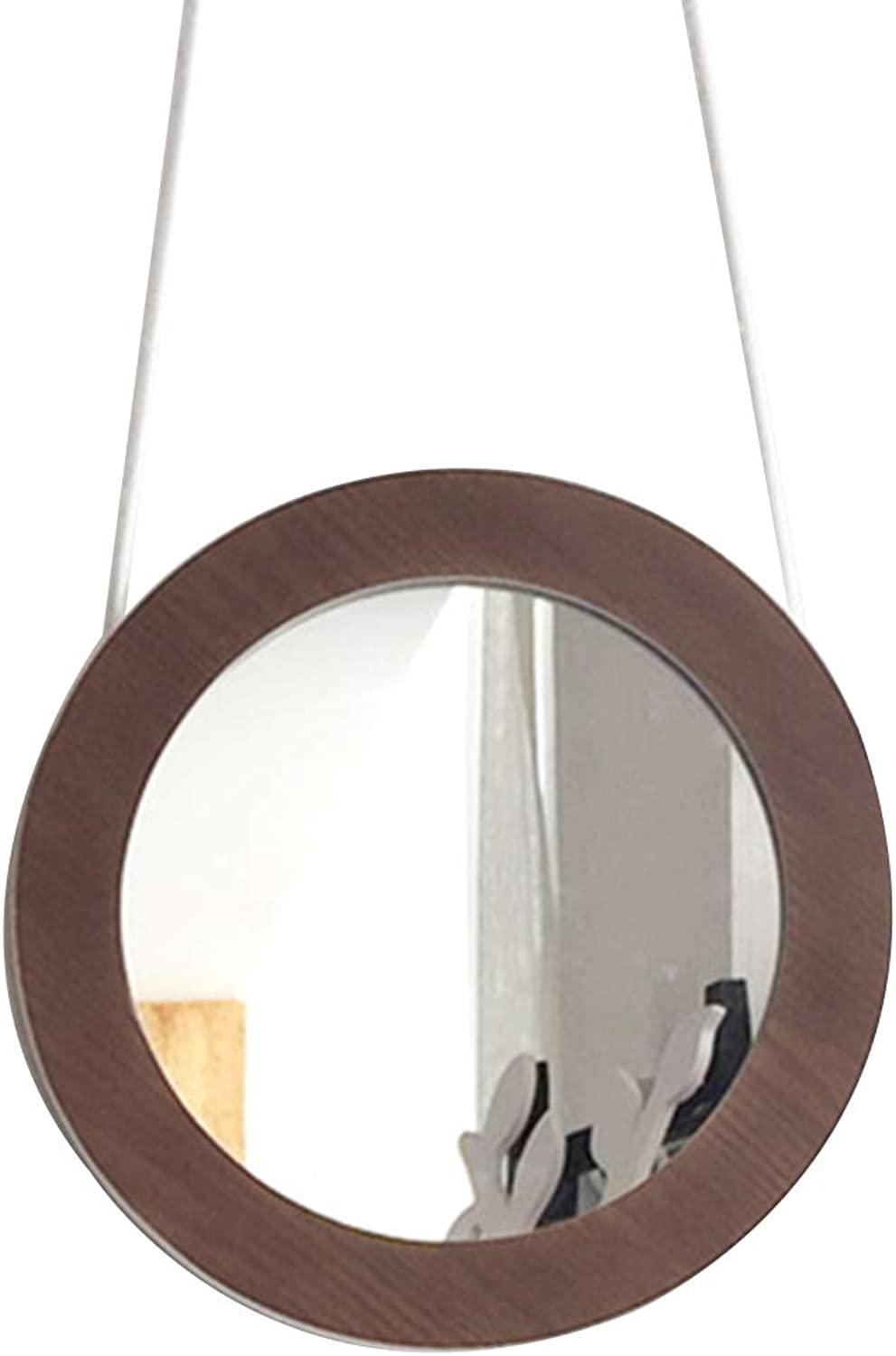 YANZHEN Mirror Wall-Mounted with Rope Simple and Modern Waterproof Bathroom Anticorrosive Solid Wood, 3 colors (color   Brown, Size   28x28cm)