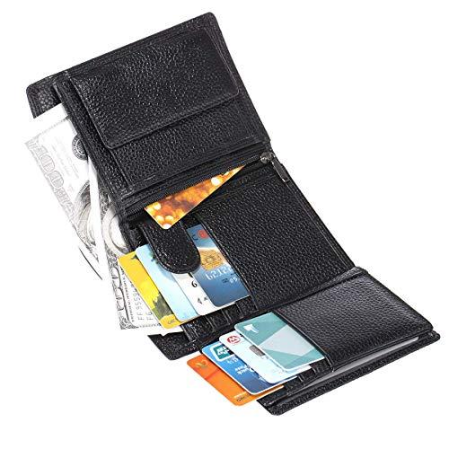Ybzx Bluemeow Cartera Corta Triple de Bloqueo RFID de Cuero Genuino para Hombre Monedero de Viaje de Bolsillo con Cremallera de Gran Capacidad en Efectivo Titular de la Tarjeta de crédito con CAJ