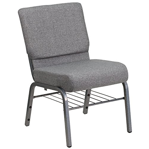 Flash Furniture HERCULES Series 21''W Church Chair in Gray Fabric with Book Rack - Silver Vein Frame
