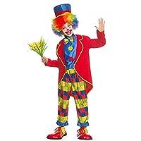 Costume de déguisement drôle de clown de cirque de garçons Inclus: Veste, chemise à l'avant avec nœud papillon, pantalon et bonnet Moyen 5-7 ans (122-134cm), Grand 8-10 ans (134-146cm), X-Large 11-13 ans (146-158cm) Chaussures et fleurs en image non ...