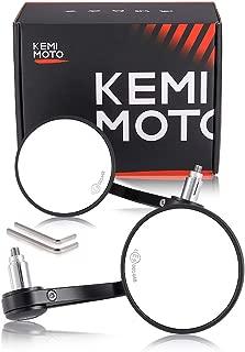 "kemimoto Motorcycle Bar End Mirrors Universal Handlebar Mirror 3.9""x3.9"" Clear Aluminum Heavy Duty"