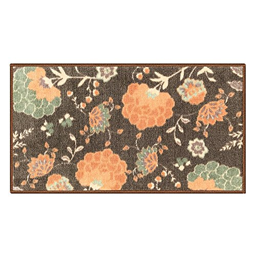 Silk & Sultans Agathe colección de diseño floral, Se aceptan mascotas, Felpudo antideslizante con refuerzo de goma, Mocha 1'x2'