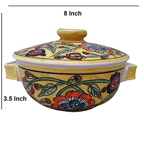 India Meets India Thanksgiving Handicraft Ceramic Serving Bowl with Lid Mixing Bowls Dinner Bowl Snack Bowl, 1000 ML, Best Gifting, Made by Awarded Indian Artisan