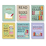 CHDITB Colorful Wall Art Print Inspirational Read Books Quote Art,Watercolor Books Art Painting , Set of 6 Art Posters(8 ' x10 ')Motivational Saying Canvas Poster For Classroom Library Study Decor