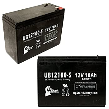 2 Pack UpStart Battery UB12100-S Sealed Lead Acid Battery Replacement  12V 10Ah 10000mAh F2 Terminal AGM SLA  - Compatible with Schwinn S750 Schwinn S350 Neuton Mowers CE6 Neuton Mowers CE5