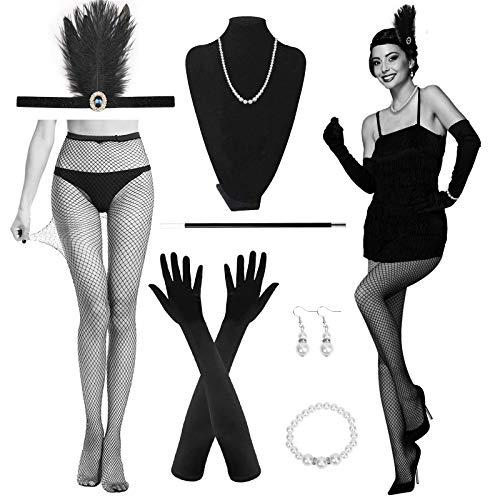 MEZOOM 9 Stück Gatsby Damen Zubehör, 1920er Jahre Kostüm, Schwarze Handschuhe Stirnband Perlen Halskette Ohrringe Netzstrümpfe für Frauen Karnevals Maskerade Cosplay Party