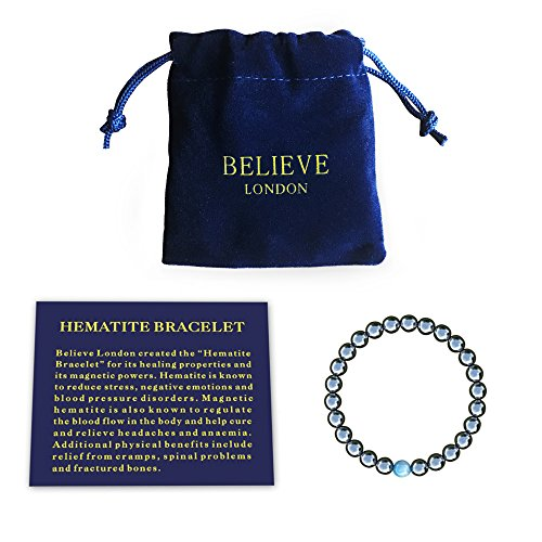 """BELIEVE: Believe London created the """"Hematite Bracelet"""" for its healing properties and its magnetic powers. HIGHEST QUALITY: Natural genuine precious 8mm hematite stones - very strong elastic which means you can wear this bracelet every day and not w..."""