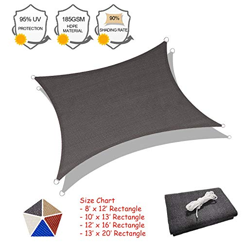 SUNLAX Sun Shade Sail, 12'x16' Grey Rectangle Outdoor Shade Cover 185GSM HDPE UV Block for Patio Shading