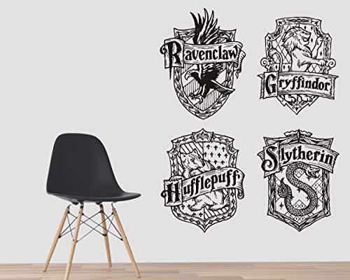 Kuarki | Hogwarts Wandtattoo | Harry Potter Wandtattoo | Gryffindor | Slytherin | Ravenclaw | Hufflepuff | Wandaufkleber | Film Inspiriert | Hohe Qualität