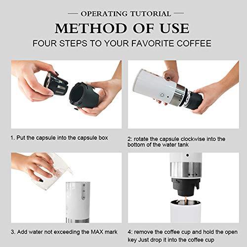 Changor Kaffeemaschine, einfacher Pod Kaffeebrauer 2 x AAA-Batterie oder USB-Kabel Edelstahl Made Wasser Kapazitätsskala (weiß)