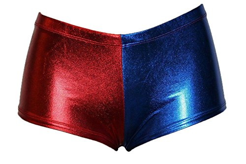 FK Styles Damen Kurze Hosen Harley Quinn Selbstmord Kader Multi Farbe Hot Sexy (ML = 40-42, Blau/Rot)