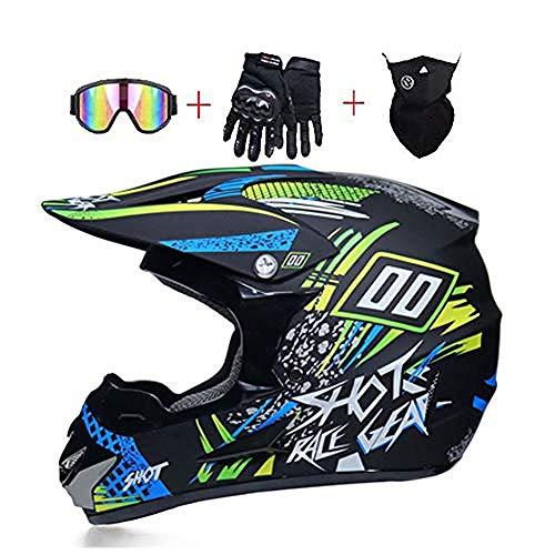 Casco de Motocross - Casco de Moto para Hombre con Gafas Guantes...