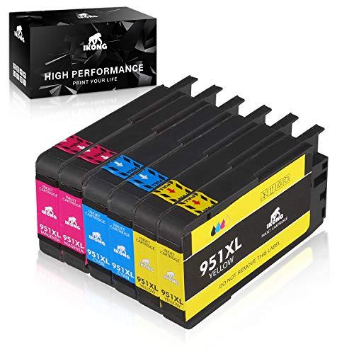 IKONG Compatible HP 951XL HP 951 XL Cartuchos de Tinta, Alto Rendimiento, Trabajar con HP Officejet Pro 8600 8620 8610 8100 8615 Impresora- 6 Paquetes(2 Cian 2 Magenta 2 Amarillo)