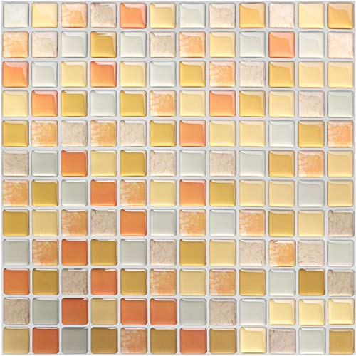 HyFanStr 3D fliesenaufkleber küche, Selbstklebende 3D mosaik fliesenaufkleber Bad Fliesendekor Aufkleber 23.6X23.6cm (4er Pack)