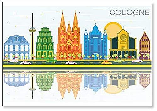 Imán para nevera con diseño de la ciudad de Colonia Alemania con construcciones de color y reflexiones