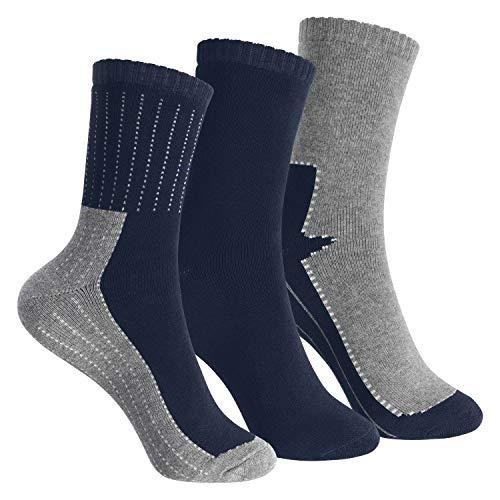 Footstar Kinder Frottee-Socken mit Motiv (3 Paar), Warme Socken mit Thermoeffekt - Marine 35-38