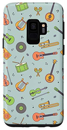Galaxy S9 Vintage Music Instruments Guitar Lyre Viola Mandolin Pattern Case