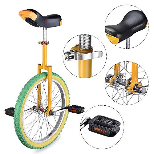 Yanika Unicycle 20 Inch - Leakproof Butyl Tire Wheel Cycling Exercise - Unicycles for Adults Kids Men Teens Boy - Cycling Outdoor Sports Fitness Exercise (Lemon)
