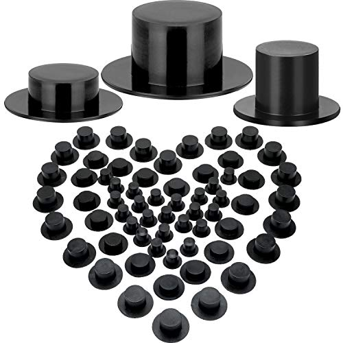 Boao 100 Pieces Mini Black Top Hats Christmas Plastic Miniature Top Hats for Crafts Snowman Hats Magician Hats for Snowman DIY Decoration Party Supplies (1.61 x 0.75 Inches)