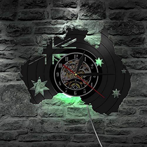 AiEnmaw Country Map of Australia Vinyl Record Wall Clock Australia Flag Modern Australia Travel Souvenir Patriotic Wall Art Clock Watch LED Lights