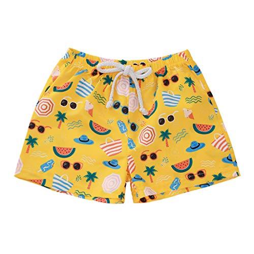 Pingtr Pantalones Cortos Casuales de Playa con Estampado de Bosque Profundo Tropical para nios