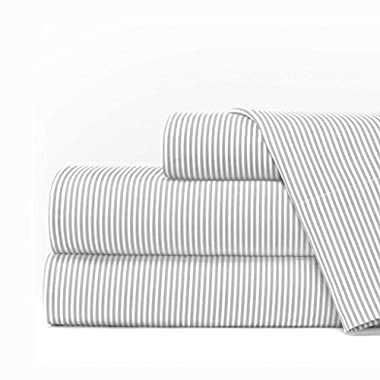 Egyptian Luxury 1600 Series Hotel Collection Pinstripe Pattern Bed Sheet Set - Deep Pockets, Wrinkle and Fade Resistant, Hypoallergenic Sheet and Pillowcase Set - Queen - Light Gray/White