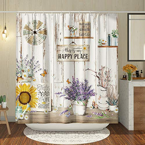 DESIHOM Vintage Country Shower Curtain 72x72 Inch, Farmhouse Rustic Shower Curtain Antique Wood Shower Curtain Polyester Waterproof Shower Curtain