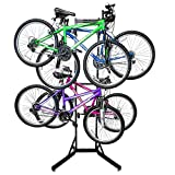 RaxGo Bike Garage Storage Rack, 4 Bicycle Garage Floor Stand, Adjustable, Freestanding, Adjustable Hooks, For Mountain & Road bicycles, Universal For Indoor Use